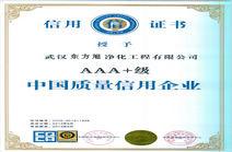 东方旭中国质量信用证书